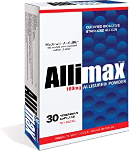 Allimax 180mg 30 Capsules. Supports Your Body's Immune Function Through Natural Allicin, a Potent Organosulphur Compound Extracted from Clean and Sustainable Spanish Grown Garlic.