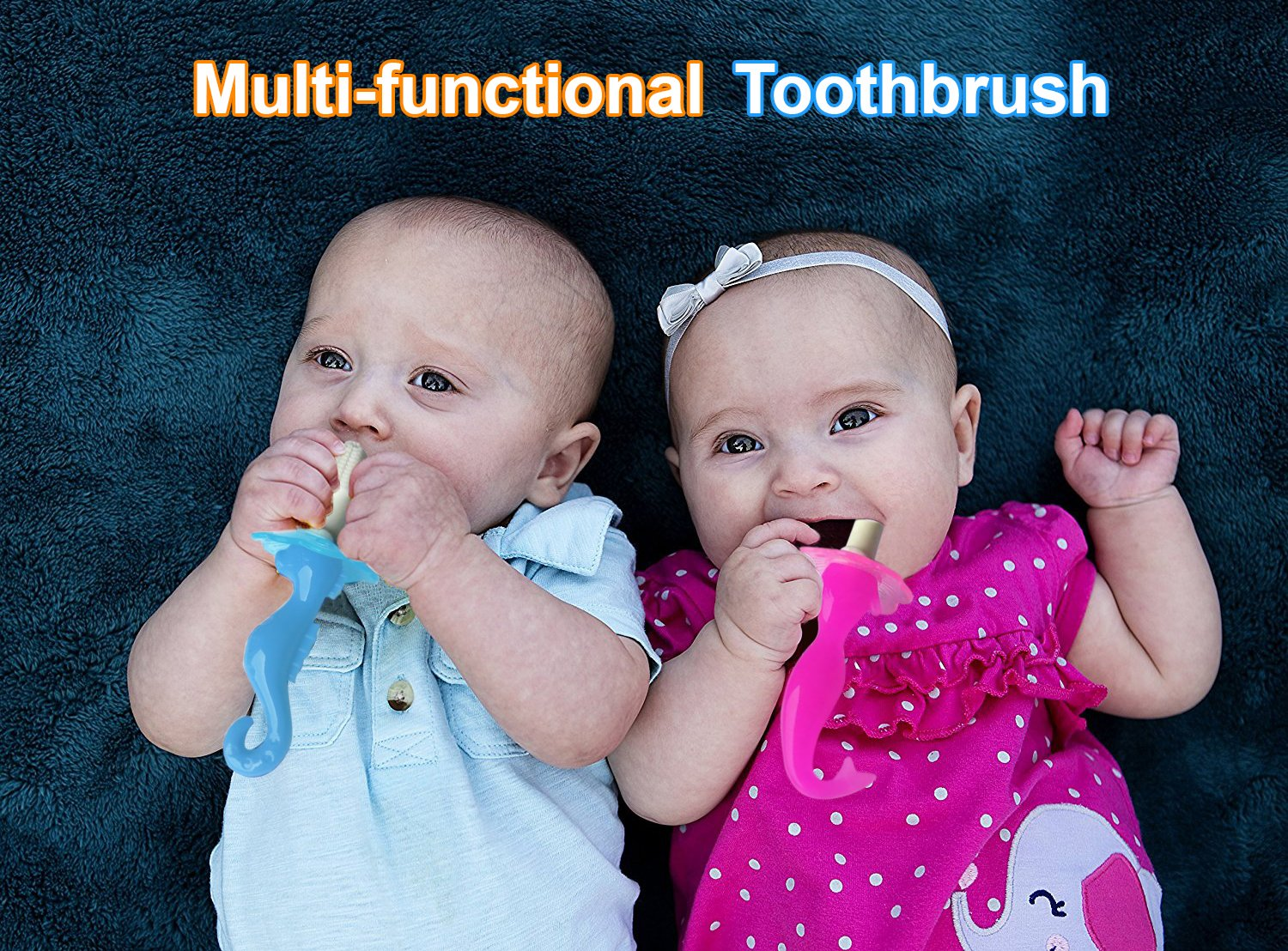 CuteStuffs Seahorse and Mermaid Baby Toothbrush and Teether; Training Toothbrush for Infants and Toddlers, Soft Bristles, BPA-Free (Mermaid and Seahorse 2 Pack)