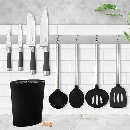 Set de Tacoma universal lavable, gran capacidad + Juego de 4 cuchillos San Ignacio Premium: Chef, Santoku, Multiusos y Pelador + 4 utensilios de ...
