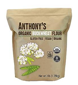 Anthony's Organic Buckwheat Flour, 3lbs, Grown in USA, Gluten Free, Vegan