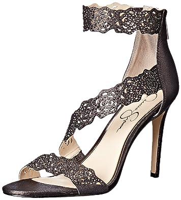 324ebf3f7ff Jessica Simpson Women s GEELA Heeled Sandal Black Gunmetal 8.5 Medium US