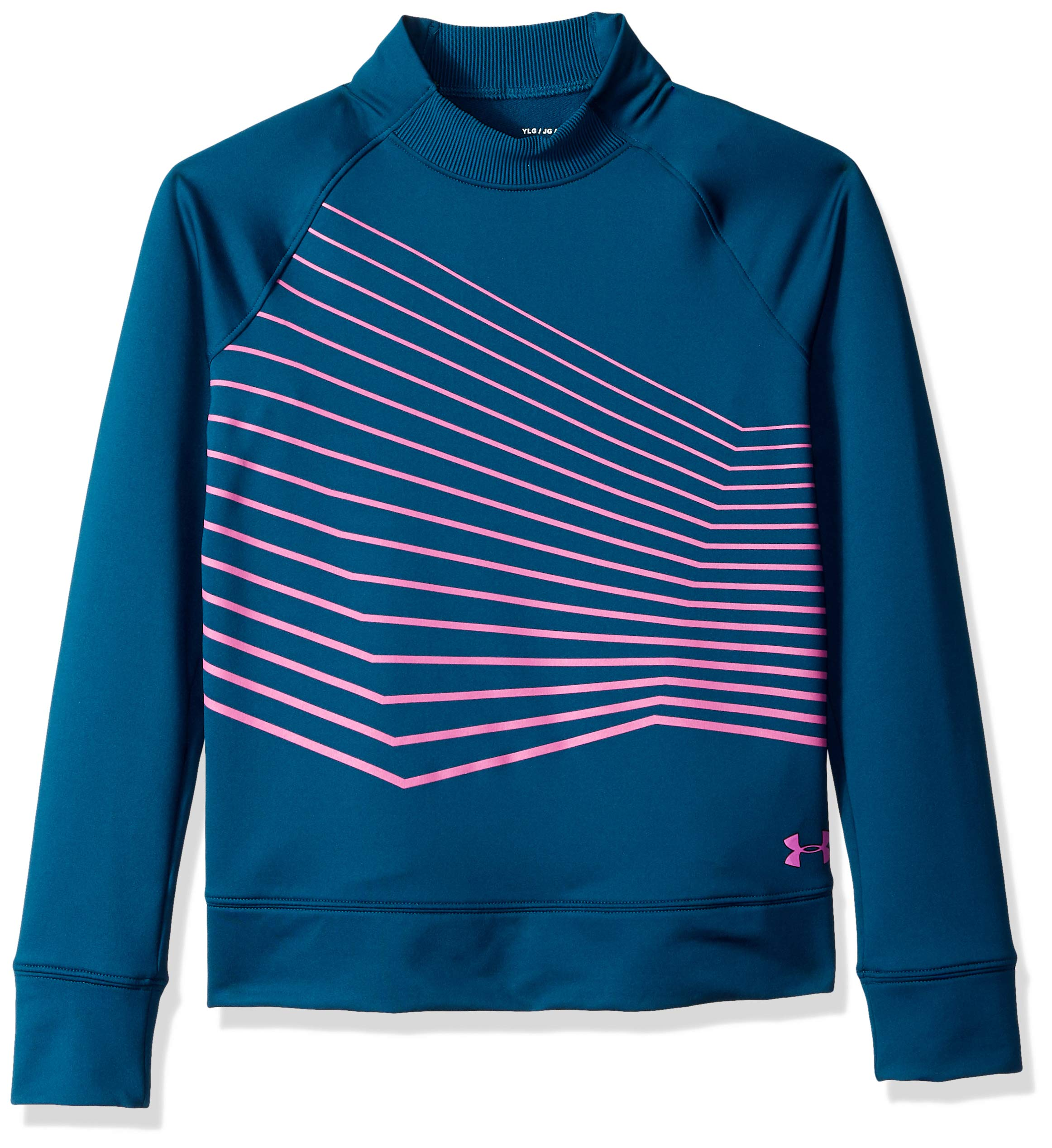 Under Armour Girls Coldgear Mock Long sleeve Sweatshirt, Techno Teal (489)/Fluo Fuchsia, Youth Medium by Under Armour