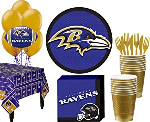 Party City Baltimore Ravens Super Party Supplies for 18 Guests, Include Plates, Napkins, Table Cover, and Balloons