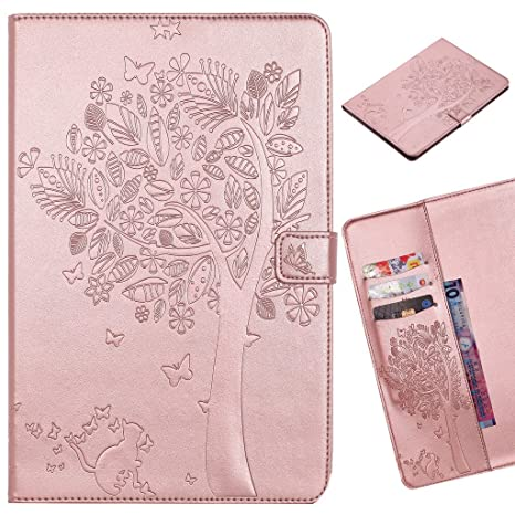 LEMORRY para Apple iPad Mini 1 2 3 Funda Estuches Pluma Repujado Cuero Flip Billetera Piel Protector Magnética TPU Silicona Carcasa Tapa para iPad ...