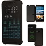 TECHGEAR DOT MATRIX VIEW Case fits HTC One M9 - Flip Case Cover With Auto Sleep Wake Function (BLACK)