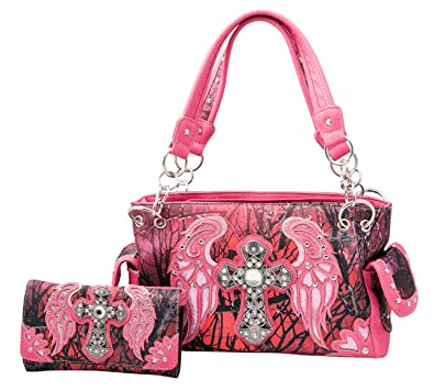 f3df6ba58ce6 HW Collection Western Camo Camouflage Rhinestone Cross Angel Wings Purse  Concealed Carry Handbag and Wallet Set