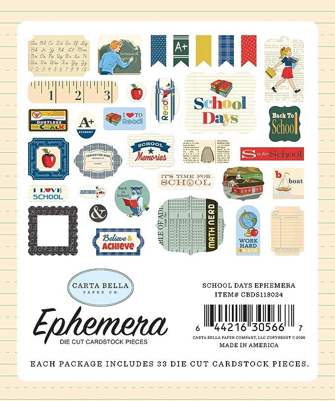 yellow Carta Bella Paper Company School Days 6x13 Phrases chipboard red navy green