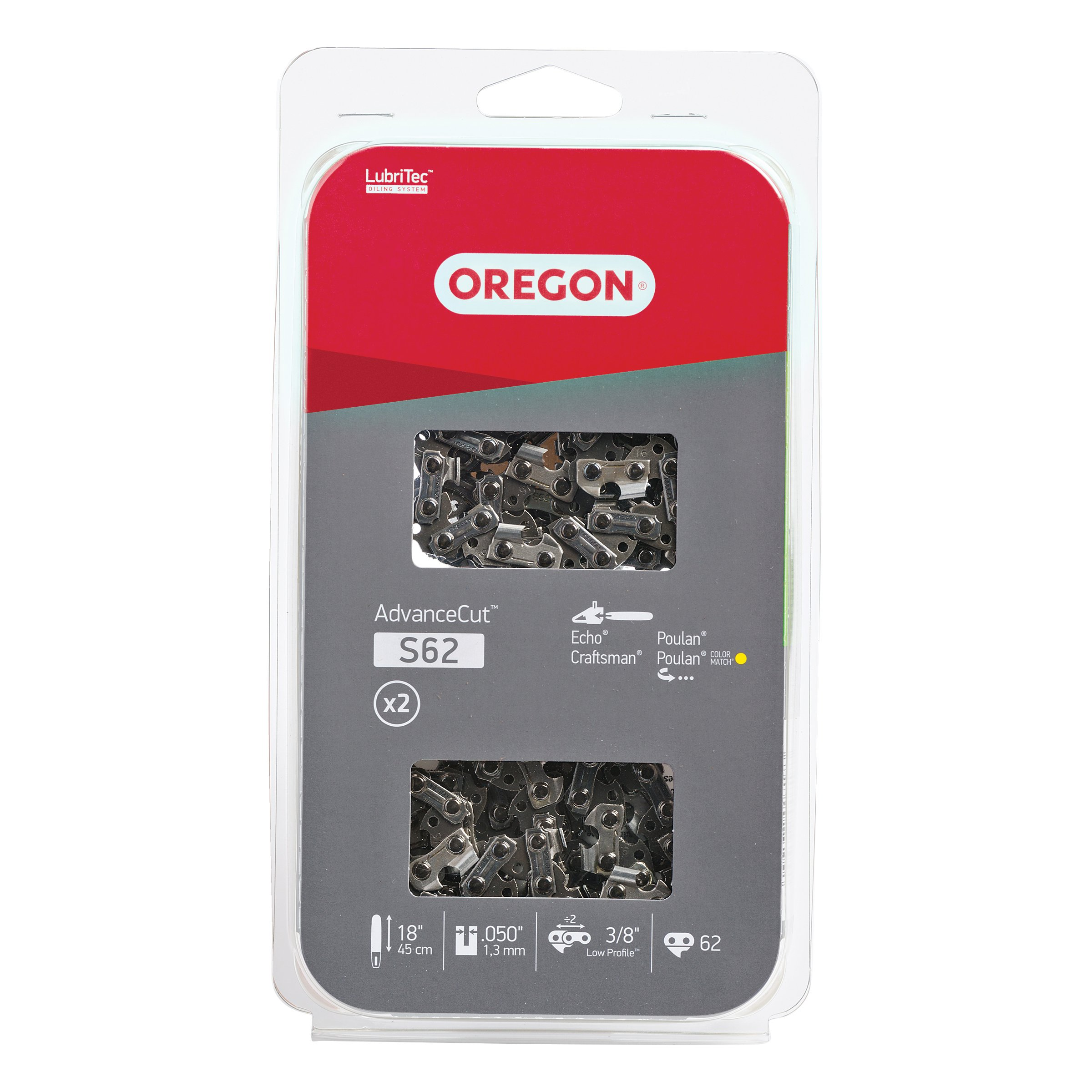 Oregon S62T AdvanceCut 18-Inch Chainsaw Chain, Fits Echo, Craftsman, Poulan (2-Pack) by Oregon