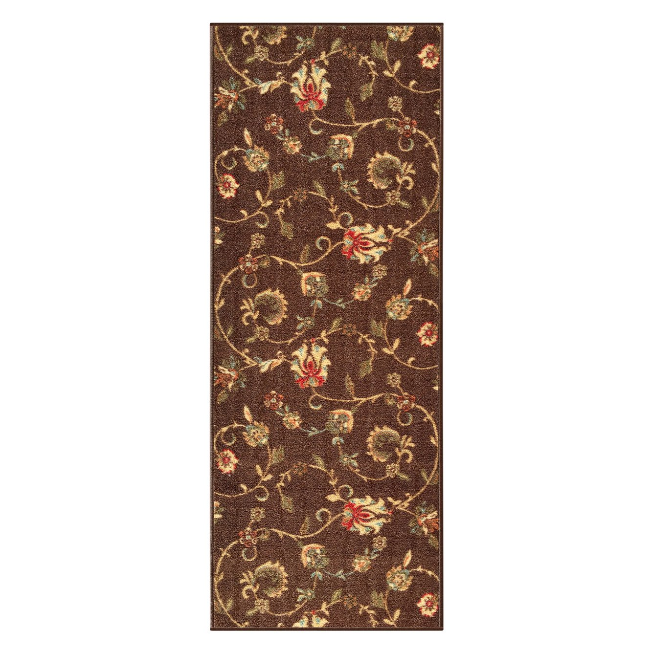Kapaqua Custom Size Brown Floral Rubber Backed Non-Slip Hallway Stair Runner Rug Carpet 22 inch Wide Choose Your Length 22in X 21ft