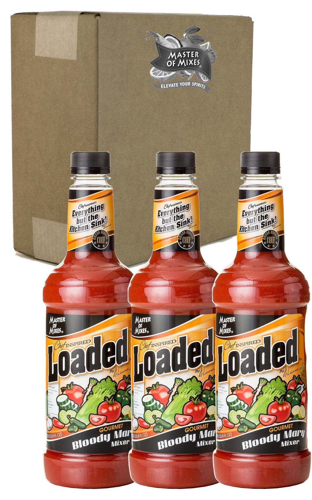 Master of Mixes Loaded Bloody Mary Drink Mix, Ready To Use, 1 Liter Bottle (33.8 Fl Oz), Pack of 3