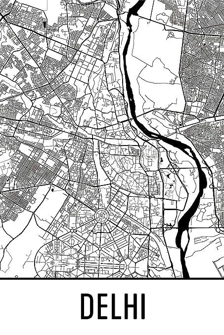 Amazon.com: Modern Map Art Delhi Print, Delhi Art, Delhi Map, Delhi on