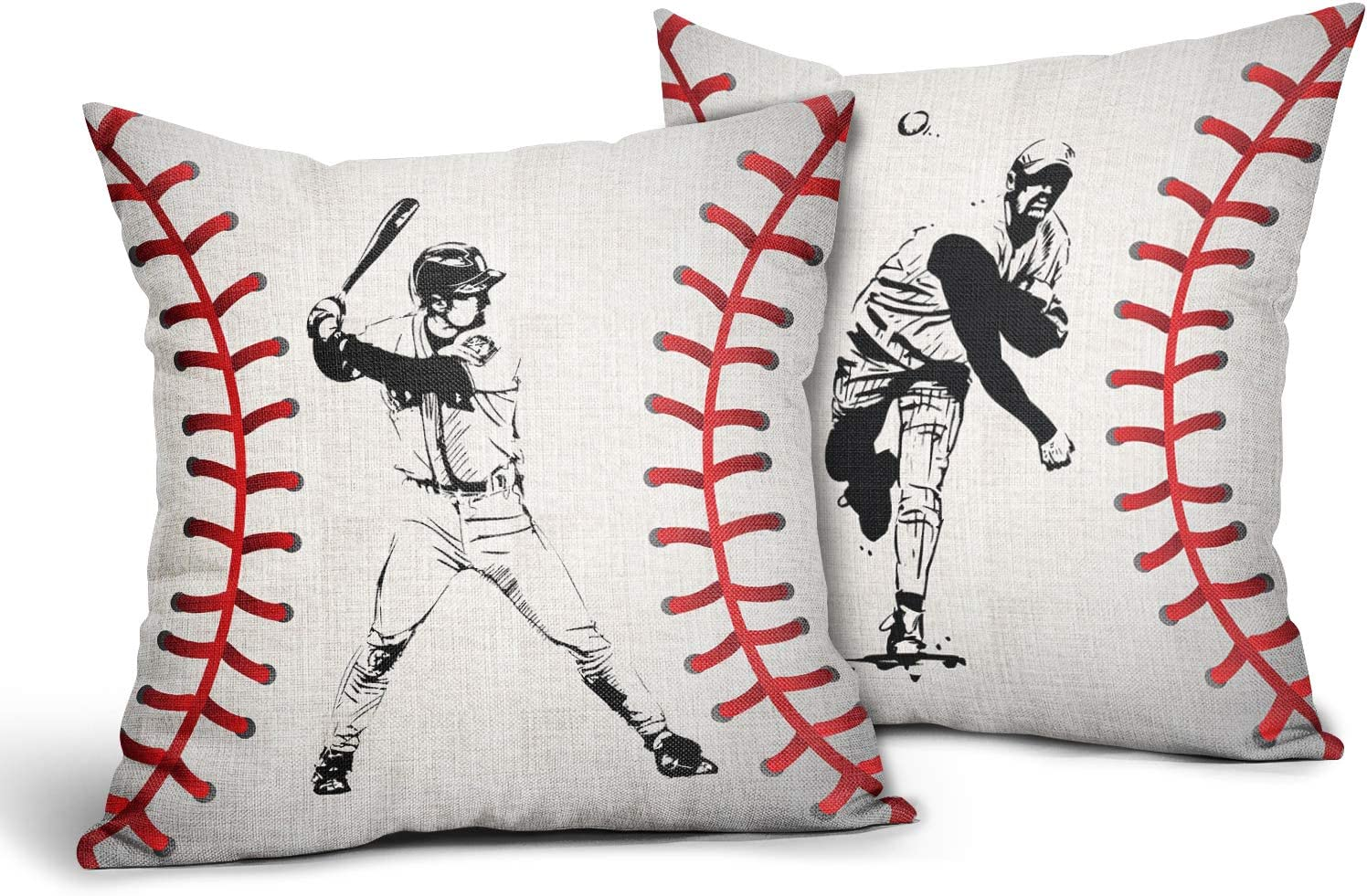 Baseball Design Pillow Cases Baseball Athlete Pitcher Hitter Throw Pillow Covers Set of 2 Ball Sport Themed Cotton Linen Decorative Cushion Cover 18x18 Gifts for Boys Men Living Room Couch Office