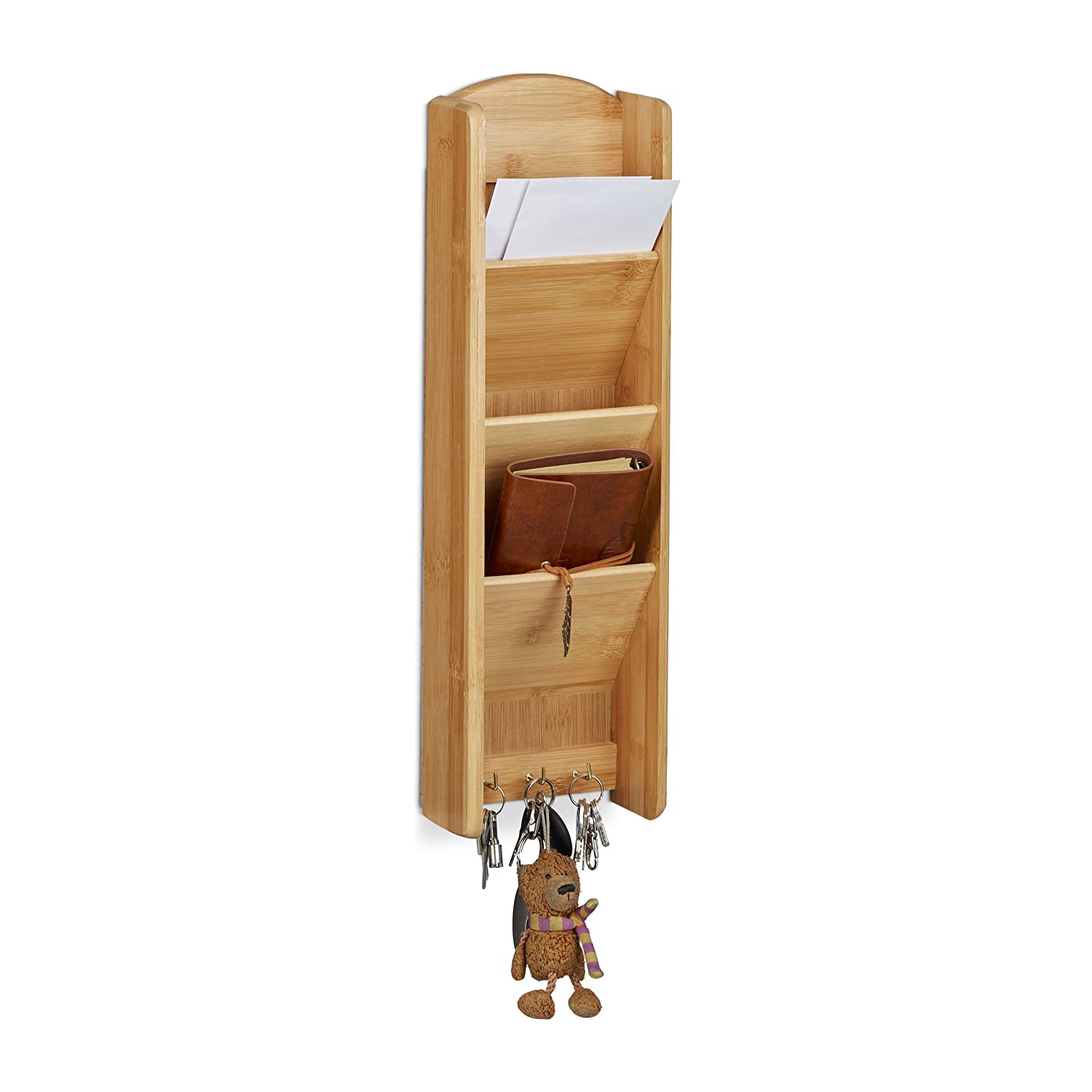 Relaxdays Bamboo Key Board with Shelf, 3 Compartments, 3 Key Hooks, Wall Organizer, Size: 7.5 x 15 x 49.5 cm, Wood, Natural Brown 10020249