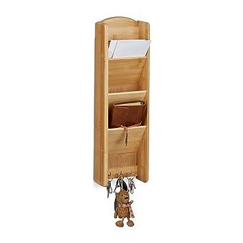 Relaxdays Schlüsselbrett mit Ablage Bambus, 3 Fächer, 3 Schlüssel ...