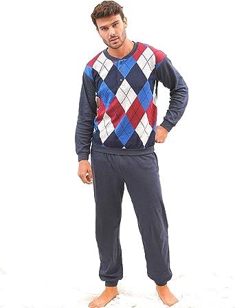 BABELO HOMEWEAR 🏠 - Pijama de Hombre – Conjunto de Pijama de Hombre de algodón - Conjunto de Pijama de Hombre Largo con Rombos – Color Azul Marino – ...