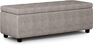 SIMPLIHOME Hamilton 48 inch Wide Rectangle Lift Top Storage Ottoman in Upholstered Distressed Grey Tufted Faux Air Leather with Large Storage Space for Living Room, Entryway, Bedroom, Traditional