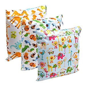 Color Our Life Wet and Dry Bag, 3pcs Diaper Bag, Waterproof/Reusable/Washable Diaper Organizer Cloth Wet Bag with Zipper for Travel, Beach, Pool, Baby Stroller, Gym, Toiletries