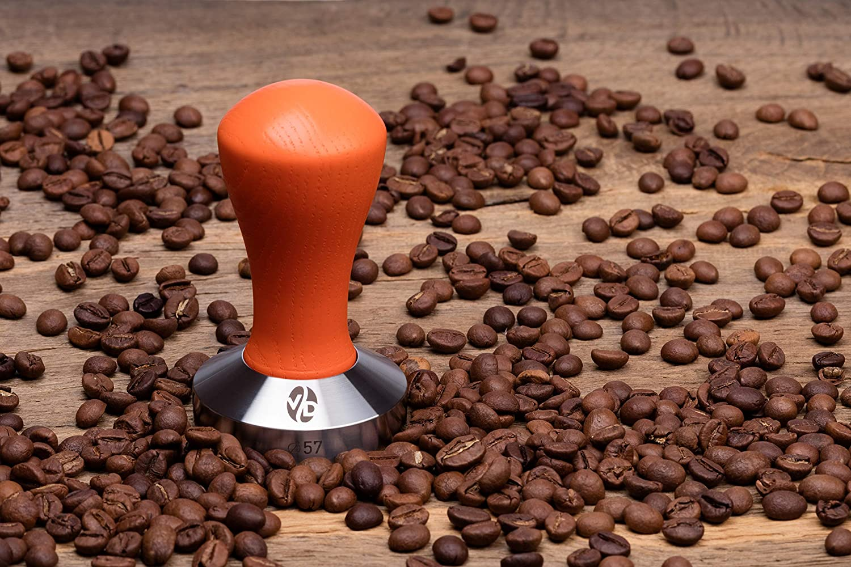 Pressure Base Tampers Tamper Coffee Press Tool Tamper Espresso menthol, 57mm Coffee Tamper Classic Color Series Espresso Tamper Handle Solid Wood Stainless Steel Espresso Tamper