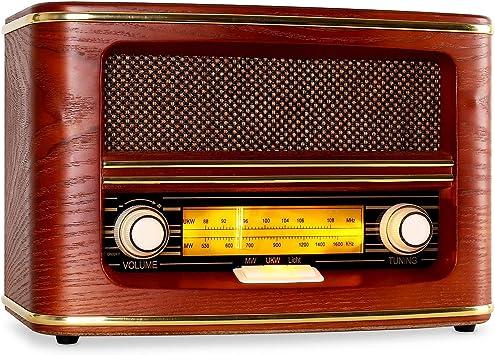 AUNA Belle Epoque 1905 - Radio nostálgica, Radio FM, Banda de Frecuencias, Regulador de Volumen y Frecuencias, Cable de Antena, Carcasa de Madera, ...