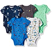 Rosie Pope Boys Baby 5 Pack Bodysuits, Space Theme, 6-9 Months