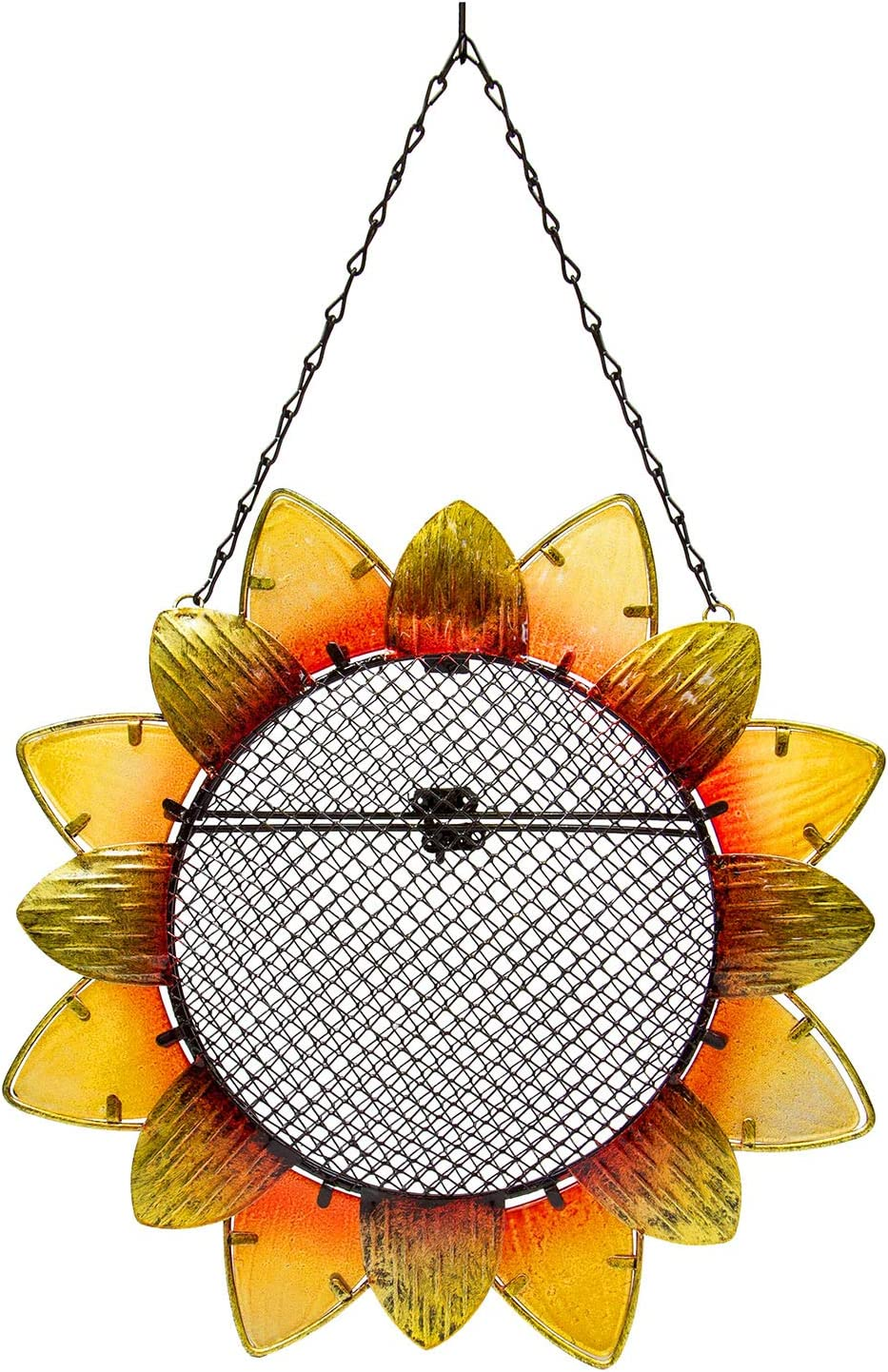 "Evergreen Garden Sunflower Metal and Glass Hanging Mesh Bird Feeder - 12.5""W x 3"" D x 17"" H"