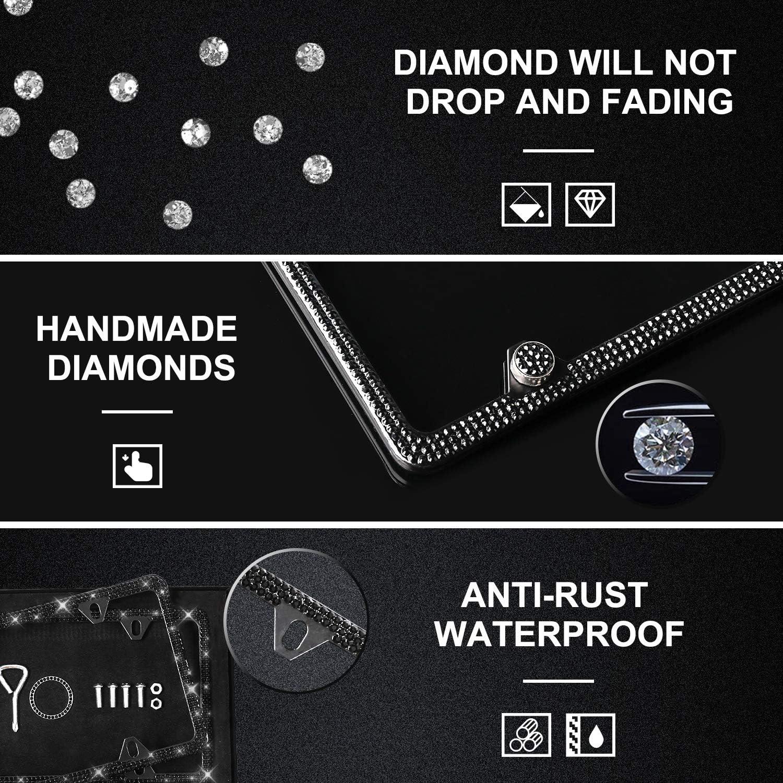 Diamon Firm Waterproof Front Back License with Gift Box(2pack) Lord Eagle Bling Glitter Diamond Narrow Border License Plate Frame for Women Men Luxury Handmade