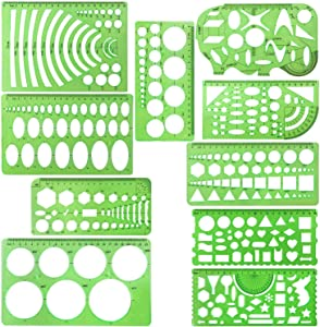 Onwon 10 Pieces Drawings Templates Stencils Measuring Templates Clear Green Plastic Geometric Rulers Draft Rulers for Drawing Engineering Drafting Building School Office Supplies
