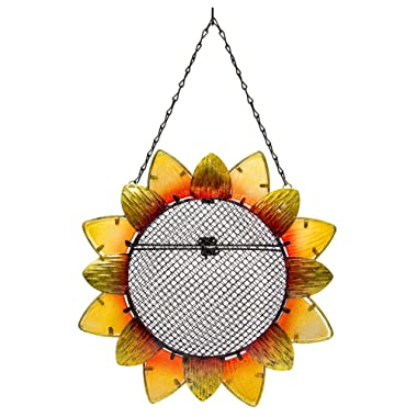 """Evergreen Garden Sunflower Metal and Glass Hanging Mesh Bird Feeder - 12.5""""W x 3  D x 17  H"""