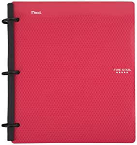 Five Star Flex Hybrid NoteBinder, 1 Inch Binder with Tabs, Notebook and 3 Ring Binder All-in-One, Red (72005)