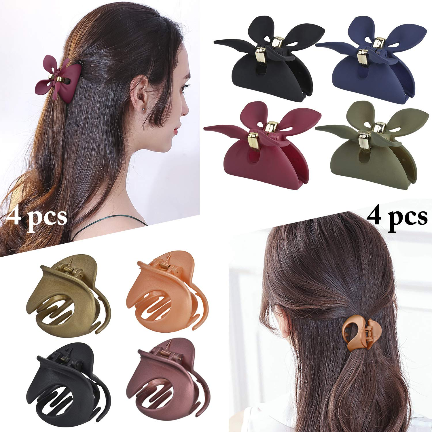 Hair Jaw Clips, Fascigirl 8PCS Medium Jaw Clips for Fine Hair Octopus Side Comb Clips for Women Matte Color Punch Claw Clip