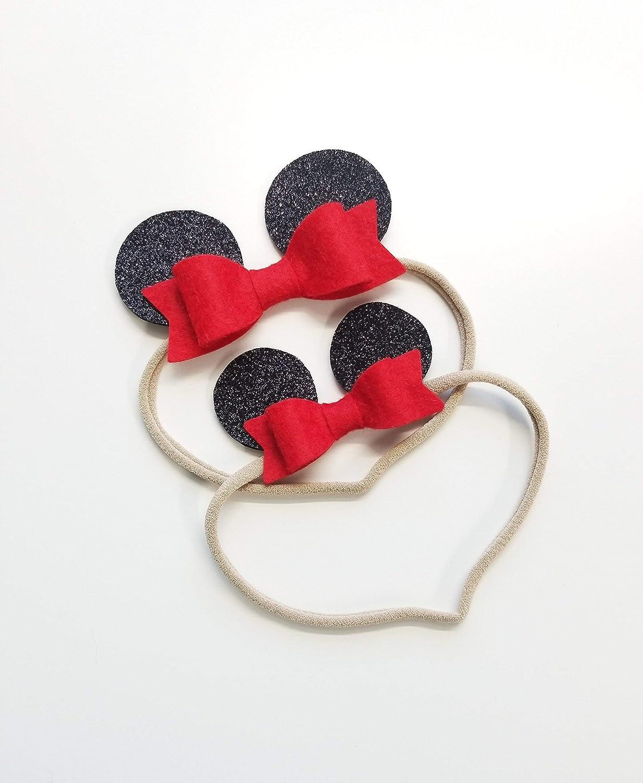 Baby headbands, Minnie Ears, mouse ears, alligator clip or nylon headband baby bows Photo props