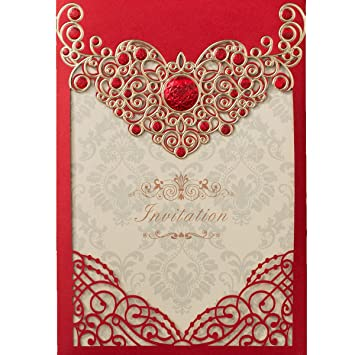 KLN Dress 50Pcs Vintage Wedding Invitations Cards Set For Marriage Engagement Baby Shower Bridal Birthday Fancy