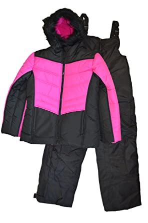 0d243296b Amazon.com  Rothschild Big Girl s 2-Piece Fleece-Lined Bib Snowsuit ...