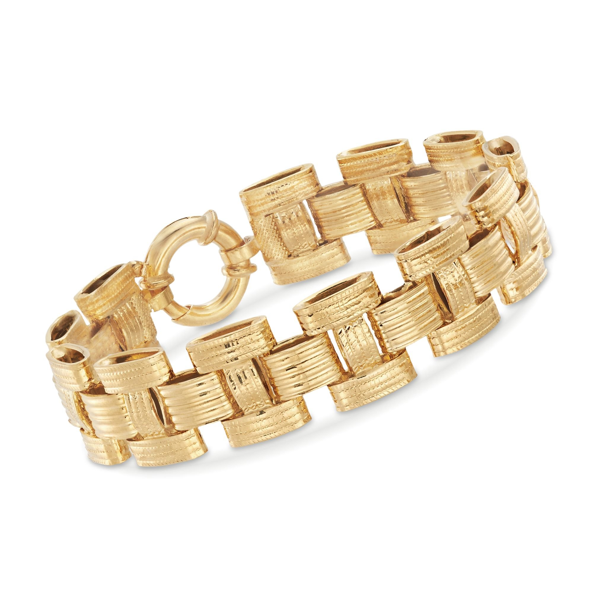 Ross-Simons Italian 18kt Yellow Gold Textured and Polished Panther-Link Bracelet