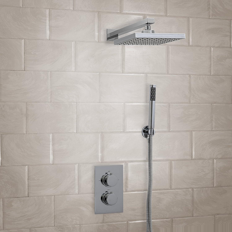 ENKI Miscelatore termostatico incasso doccia quadrato parete ABS soffione tondo