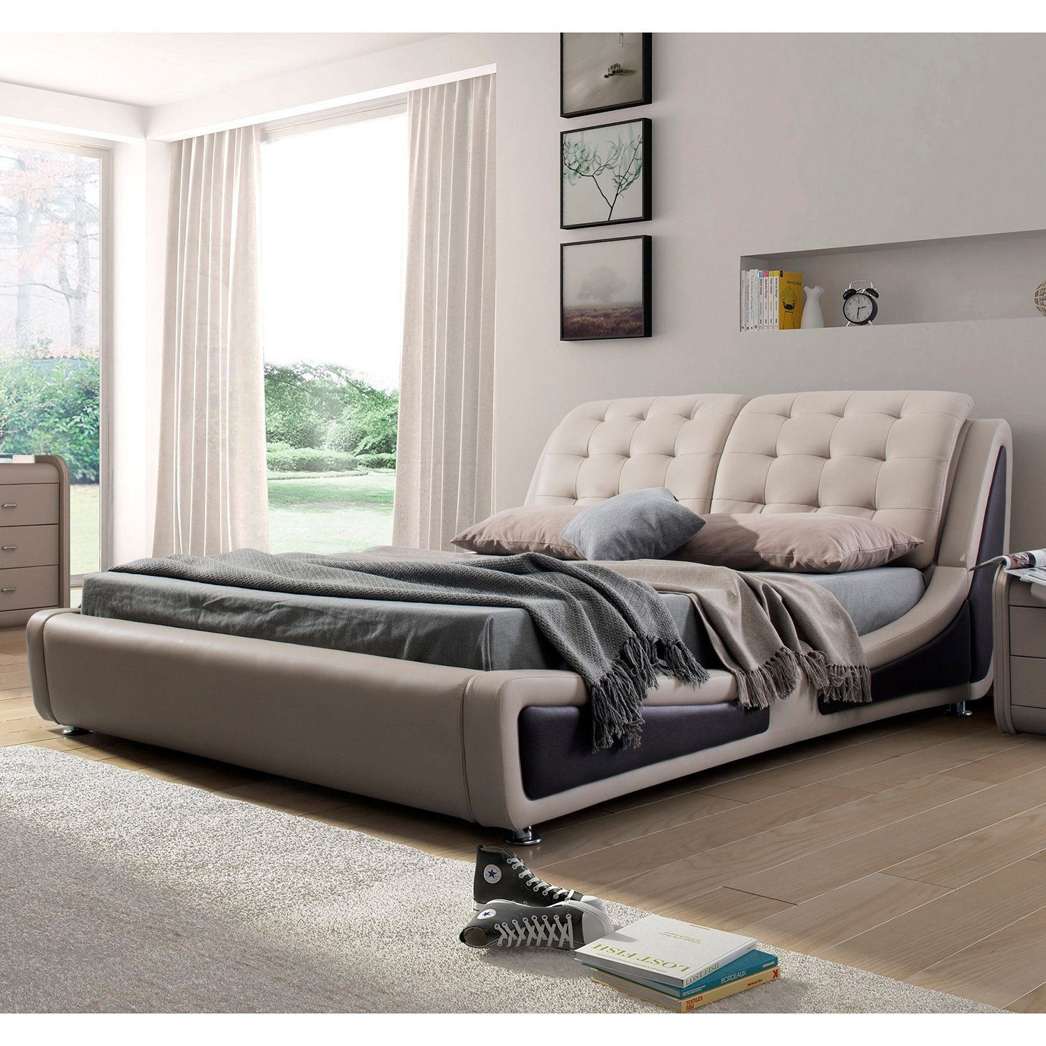 Contemporary Platform Bed, Queen Size, Brown