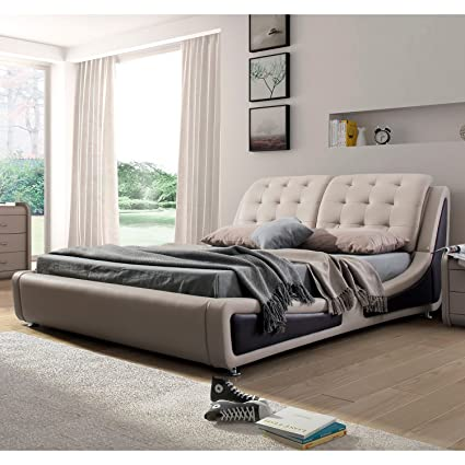 Bon US Pride Furniture B8049 CK Victoria Leather Contemporary Platform Bed,  California King, Brown