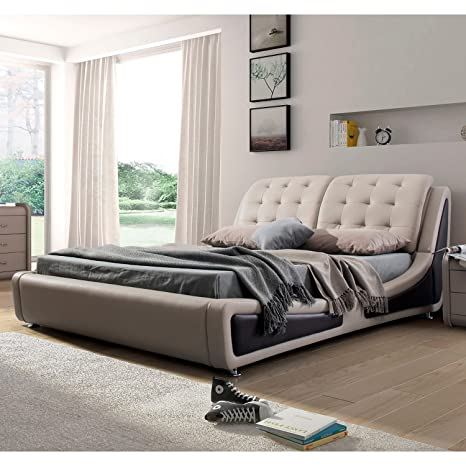 US Pride Furniture B8049-EK Platform Bed Eastern King Size Brown