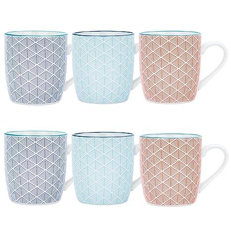 f9010db4ae7 Nicola Spring Geometric Design Patterned Coffee Tea Mug - 3 Designs, 280ml  (10oz) - Set of 6: Amazon.co.uk: Kitchen & Home