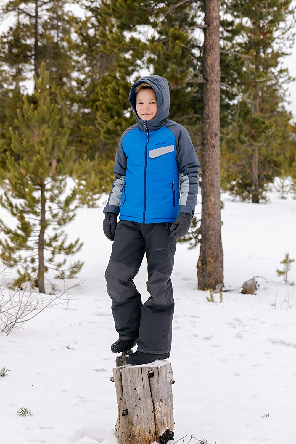 X-Large Charcoal Arctix Kids Snow Pants with Reinforced Knees and Seat