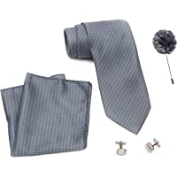 Axlon Men Grey Silk Stain Resistant Neck Tie Accessory Gift Set (Grey, Axlon-35, Free Size)