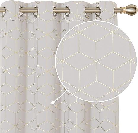 Deconovo Lot de 2 Rideaux Occultants Microfibre Isolants Complet /à Oeillets Rideau Fen/être Chambre Cuisine Salon Rideaux Chambre 117x138cm Rose