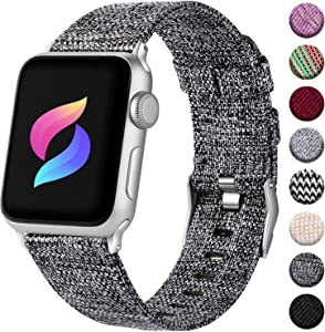 Haveda Compatible for Apple Watch Series 4 Series 5 40mm Band, Apple 5 Watch Bands iwatch Bands 38mm Womens, Cloth Dressy for Apple Watch Series 3/2/1Fabric Dark Gray+BLACK, Silicone Pink+Black