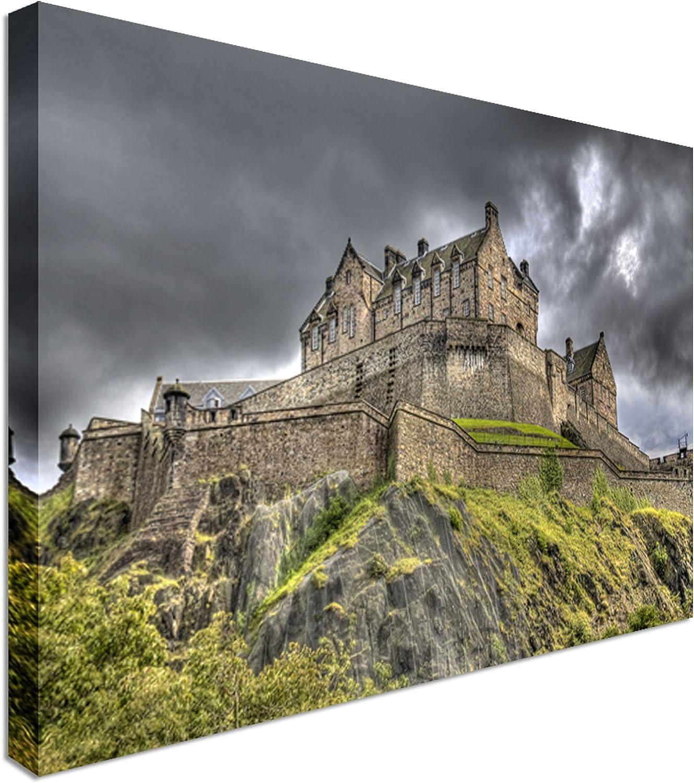 Edinburgh Castle Rainclouds Landscape Canvas Art Cheap Wall Print Home Interior 40x30 Inches Canvas Art Cheap Wall Print Classic Style Canvas Prints Premium Wooden Frames Amazon Co Uk Kitchen Home