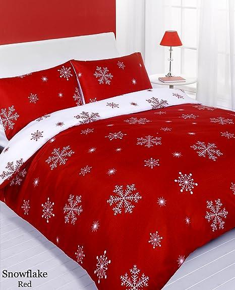 Parure Copripiumino Natale.Set Di Copripiumino E Federe Rosso Con Fiocchi Natalizi