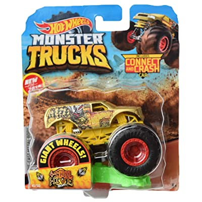 Hot Wheels Monster Trucks 1:64 Scale 4 Wheel Hive 41/50 Connect and Crash, Gold: Toys & Games