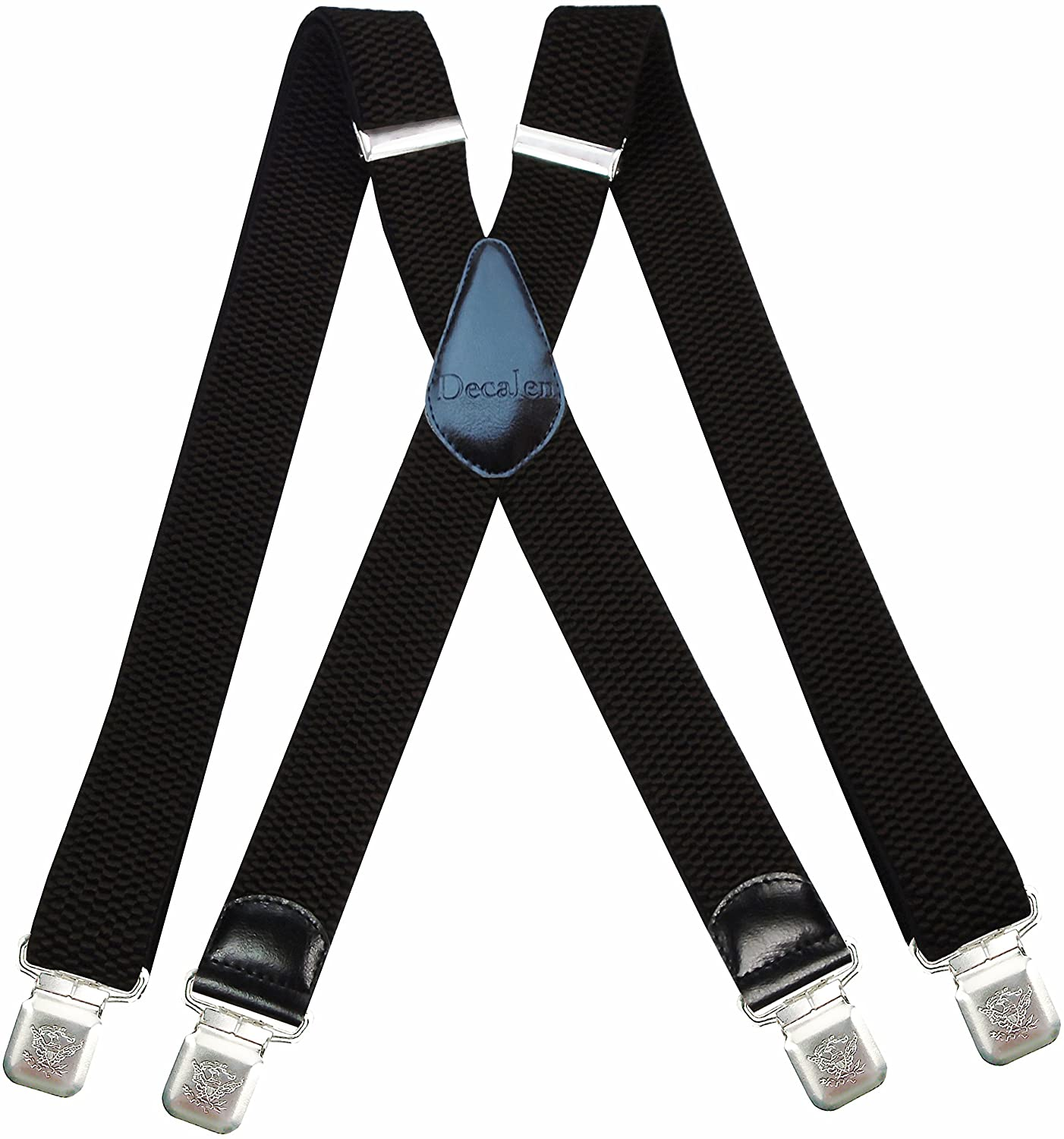 Decalen Mens Braces Very Strong Clips One Size Fits All X Style Heavy Duty Suspenders Model 41-X-UK