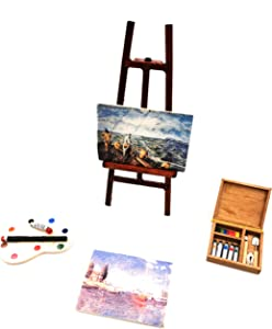 Fateanuki Doll House Accessory Painting Tool Set Miniature Dollhouse Toy Balcony Patio Furnitures Decoration Accessories 1 12 Scale
