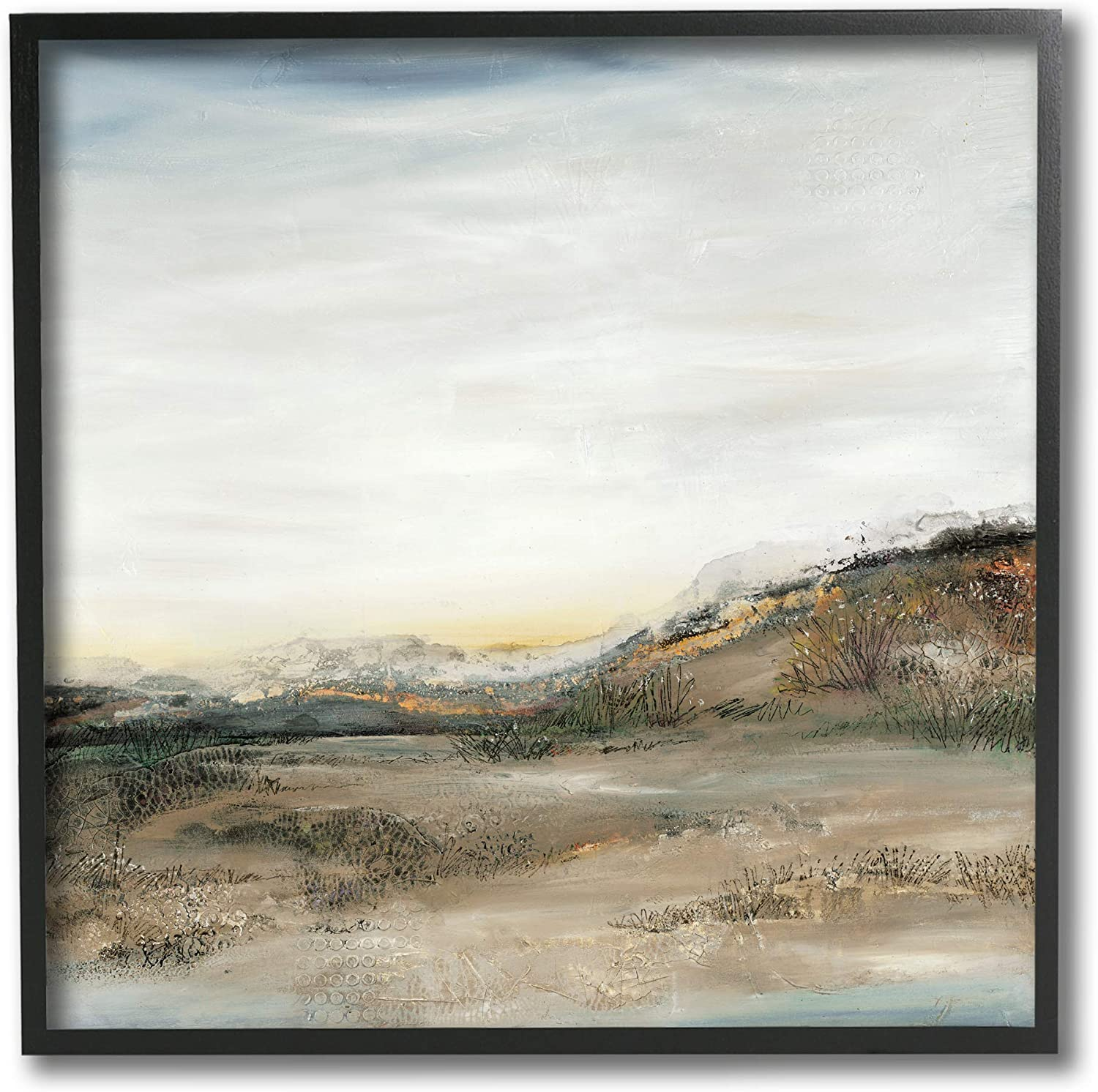 Stupell Industries Desert Landscape Abstraction Rustic Mountain Range, Designed by Ruth Fromstein Black Framed Wall Art, 12 x 12, Beige