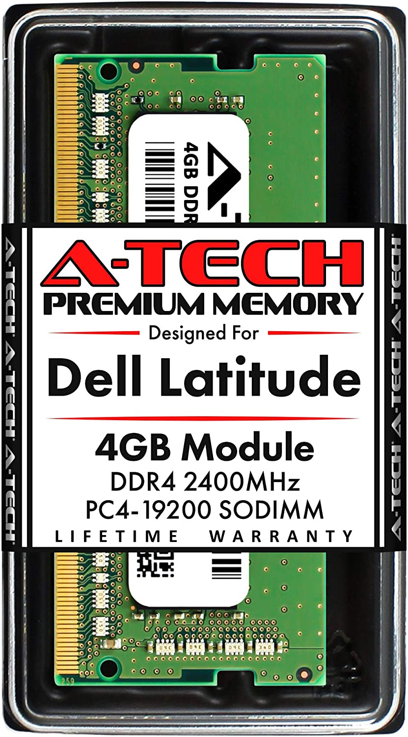 A-Tech 4GB RAM for Dell Latitude 7400, 7300, 5500, 5400, 5300, 3500, 3400, 3300   DDR4 2400MHz SODIMM PC4-19200 Laptop Memory Upgrade Module